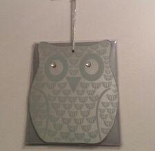 Shabby Chic Small Owl Mirror with Diamante Jewel Effect Eyes and Hanging Ribbon