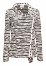 khujo Damen urban Sweatjacke MEANI grau gestreift Strickjacke