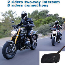 2 x Bluetooth V6 Motorcycle Motorbike Helmet Intercom Headsets 6 Riders 1200M