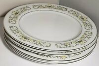 "STERLING JAPAN FLORENTINE 4 Dinner Plates Platinum Trim 10.25"" fine china"
