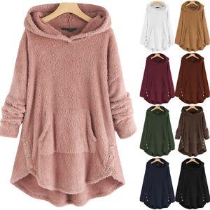 Womens Fleece Teddy Bear Hoodie Jumper Fluffy Fur Hooded Sweatshirt Pullover Top