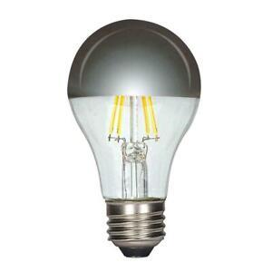 6.5W =40W Dimmable A19 LED Filament 27K Warm White Half-Chrome Med E26 Base Bulb
