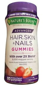 Nature's Bounty Advanced Hair, Skin & Nails Gummies, Strawberry, 80 Count
