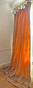 High End Decorator Custom Made Linen Drape w/ Tapestry & Braid Trim. WW155