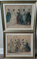 Pair Antique Framed Fashion Prints Godey's Peterson's 1869
