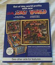 1978 Bally Lost World Pinball Machine Advertising Flyer Nos Nice!