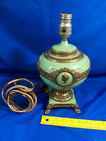 Art Nouveau Deco Cameo Urn Rare Electric Lamp Lantern Heavy Brass Bronze Mint