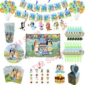 Bluey Happy Birthday Party Tableware Tablecloth Decor Balloon Tablecloth Banner