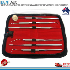 6 PCS Dental Plaque Remove Scaler Pickle Mirror Angled Scraper Tool Leather case