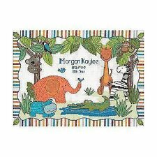 """Dimensions Baby Hugs """"mod Zoo"""" Birth Record Counted Cross Stitch Kit 14ct 30cm"""