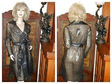 NWT S/M Shiny Black Houndstooth vinyl raincoat PVC rain jacket clear Trench Coat