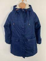 WOMENS QUBA&CO NAVY BLUE CASUAL PADDED WINTER RAIN COAT HOOD JACKET SIZE UK 8