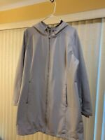 Calvin Klein Womens Utility Hooded Rain Jacket Coat Off White, Size XL
