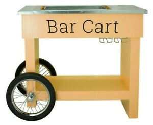 Champagne & Wine Bar Cart with Wheels Galvanized Tub Steel Glass Rack and Handle