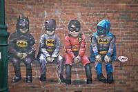 huge canvas 150cm  banksy style batman kids  street graffiti art print