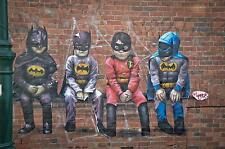 banksy STYLE  BATMAN kids  costume street graffiti art PRINT CANVAS A1 SIZE