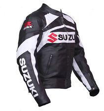 Moto Veste En Cuir Moto courses Suzuki Peau de vache Veste en cuir rasta