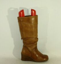 Women's Caramel Leather ROOTS Pull On Wrinkle Wedge Mid Heel Boots Size 3 / 36