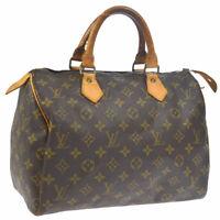 LOUIS VUITTON SPEEDY 30 HAND BAG MONOGRAM CANVAS LEATHER M41526 843MB A46749h