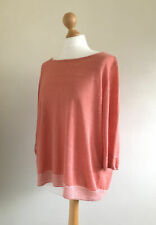 POETRY Gorgeous Knitted Coral Linen Wrap Lagenlook Top Size 18 (fits smaller)
