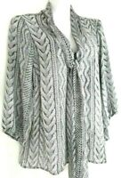 Worthington Womens Blouse Tie Front Sheer Long Sleeve Grey Sweater Print Size 1x