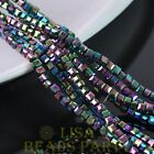 100pcs 3mm Cube Square Faceted Crystal Glass Loose Spacer Beads Colorized Plated