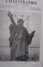 GRAVURE SUR BOIS OCT 1886 LA STATUE DE LA LIBERTE A NEW YORK LA FIN DU MONTAGE