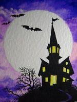 Watercolor Painting Halloween Haunted House Bat Big Moon Night Autumn ACEO Art