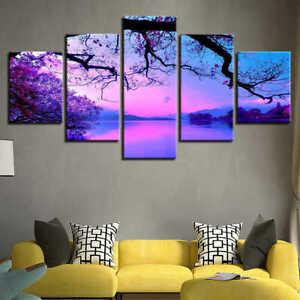 Purple Sunset Trees Lake Landscape 5 Piece canvas Wall Art Print Home Decor
