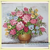 "NEW finished completed Cross stitch""Pink rose vase""home decor gifts"