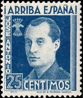 ESPAGNE / SPAIN - 1939 - Sello Benéfico 25cts azul José Antonio Nuevo**
