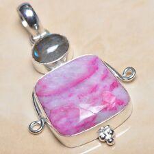 "Handmade Cherry Ruby Natural Gemstone 925 Sterling Silver Pendant 2"" #P03007"