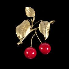 Michael Michaud - Cherry Brooch Pin - Red Jade - Silver Seasons Jewelry