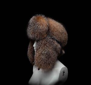 Exclusive Gold Frost Silver Fox Fur Massive Trapper Bomber Aviator Ushanka Hat
