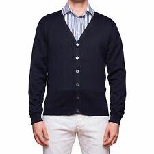 JOHN SMEDLEY Navy Blue Sea Island Cotton Cardigan Sweater EU 50 NEW US M