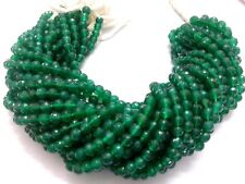 """Natural GREEN ONYX Round Ball Faceted 5-6mm Gemstone, 10"""" Strand Beads"""