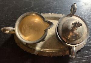 Creamer Sugar Bowl Tray Set English Silver Mfg Corp Silver-Plated Made in USA