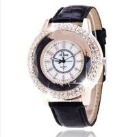 Hot Women Luxury Crystal Pearl Dial Quartz Analog Leather Bracelet Wrist Watch