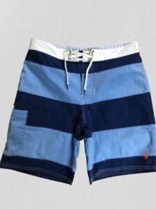 MENS POLO RALPH LAUREN BEACH/SWIM SHORTS BLUE STRIPED W32