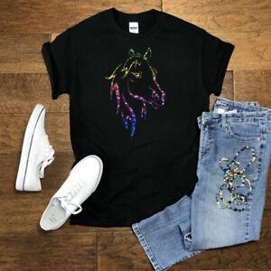 Rainbow Sparkle Horses Head Design Tops/T Shirts  Age 3-14 NEW
