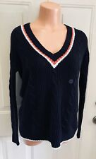 AEROPOSTALE, PRINCE & FOX, Sz Small, Navy w/White & Rust Trim, Sweater. NEW