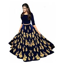 Designer Blue Velvet Embroidered Semi Stitched Lehanga Choli