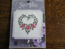 Designs For Needle MUG MAT Cross Stitch Kit #2039 HEART WREATH~~NIP!