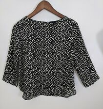 Forever 21 Black White Floral Top 3/4 Sleeves Crew Neck Size Small