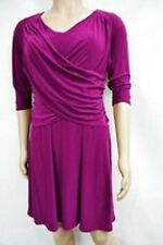 Elementz B-Slim Front-Wrap Dress 3/4 Sleeves, Size 14 Wineberry, 1/2 Off New