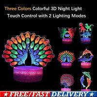 Colorful Peacock Dinosaur 3D Acrylic LED Night Light Touch Table Desk Lamp Gifts