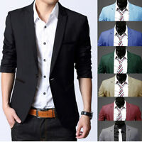 Men Slim Stylish Suit Formal Business Casual One Button Suit Blazers Coat Jacket