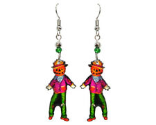 Mia Jewel Shop Handmade Spooky Halloween Happy Scarecrow Dangle Earrings Orange