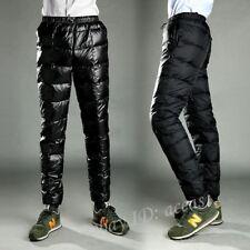 Mens Ultralight 90% Down Puffer Pants Slim High Waist Thick Outdoor Down Trouser