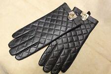 NWT MICHAEL KORS Women Black Leather Gloves Golden MK LOGO  size XL  retail $98